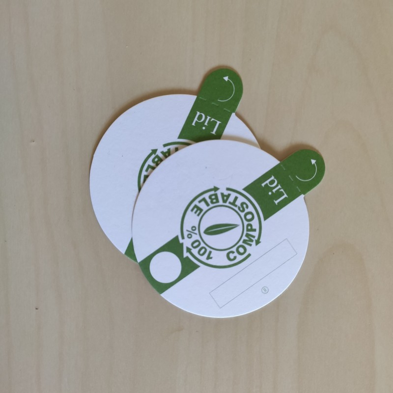 Tapa biodegradable y compostable para vaso de cata