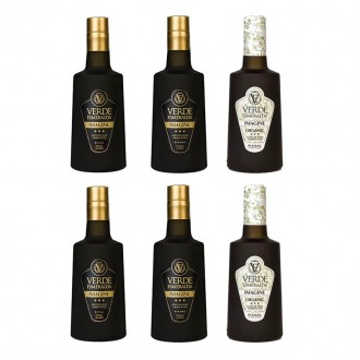 Verde Esmeralda Imagine Picual, Royal and Organic picual. 6 bottles of 500 Ml.