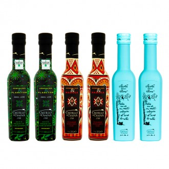 Combination Of Castillo De Canena Harissa, Plankton And Oak Smoke Oils. Case of 6 bottles of 250 ml.