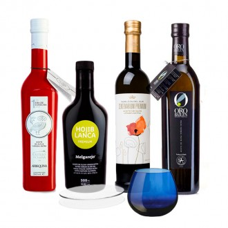 Early oil tasting pack with official tasting glass. 4 bottles of 500 Ml.